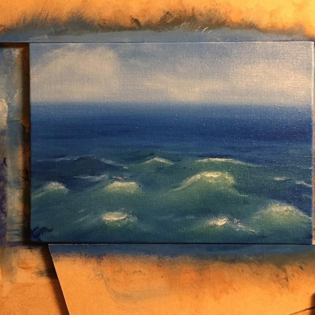 more experimenting with waves tonight ocean oilpainting learningbydoing