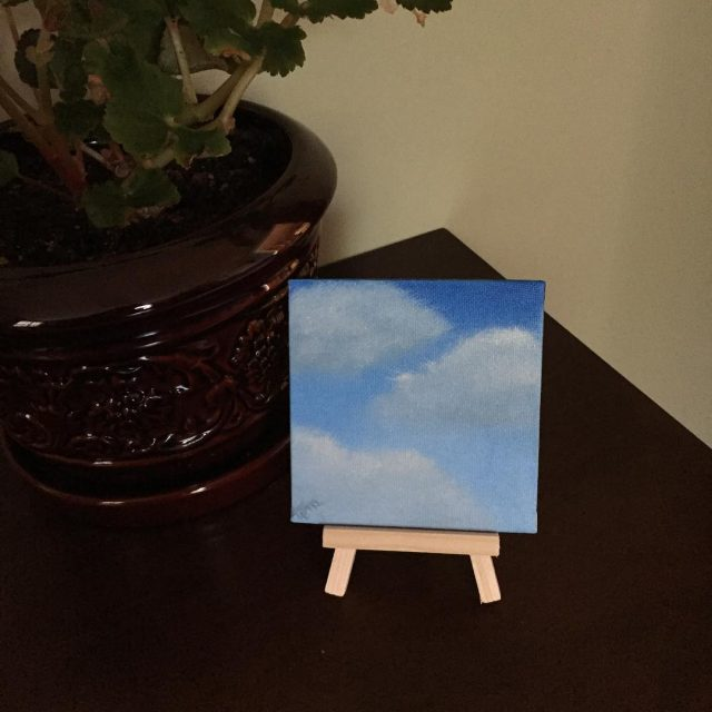 Good morning! 4x4 mini cloud paintingexperimenting with using warm whitehellip