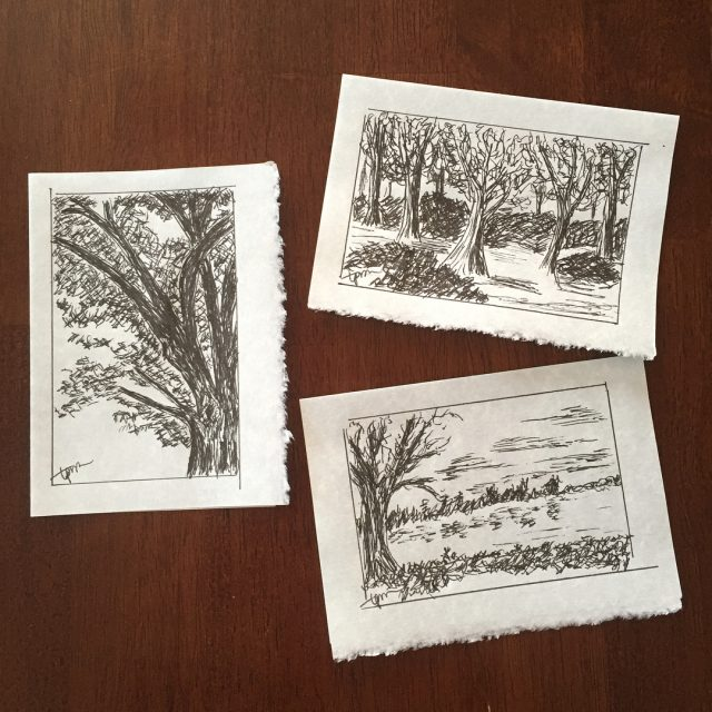 I made these 3 little Tree Meditation ink drawings tohellip