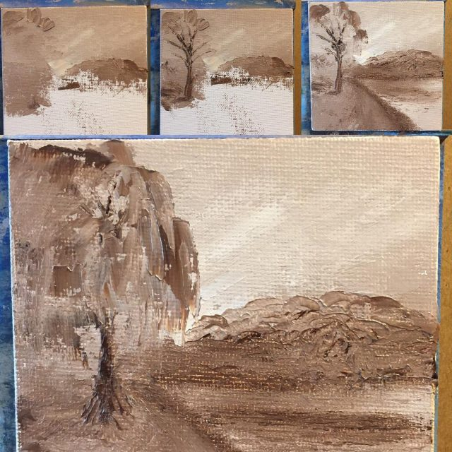 for today a weeping willow tree palette knife tonal studyhellip