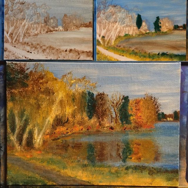 workinprogressa little 5x7 painting of an autumn day at Lakehellip